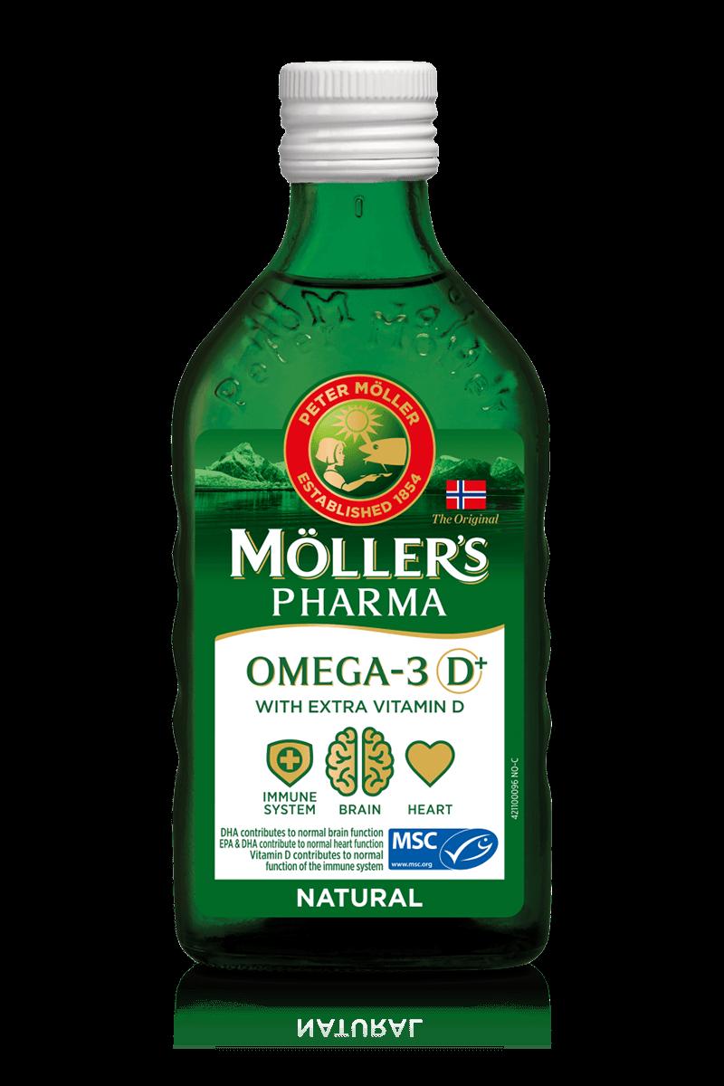Dầu Gan Cá Tuyết Mollers Pharma Tran D+ Omega-3 Naturell 250ml